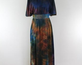 Vintage 60s Perri of Montreal tie dye multicolour bat sleeve maxi dress, small
