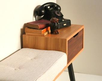 Entryway Bench/ Gossip Table/ Mid Century Modern/ Custom made