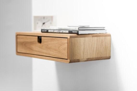 Floating Nightstand With Drawer In Oak Scandinavian Design