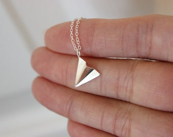 Paper airplane necklace, origami airplane necklace, airplane pendant, travel necklace, graduation necklace, modern, simple everyday jewelry