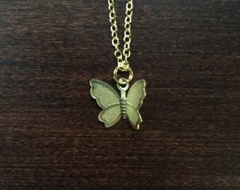butterfly, butterfly necklace, butterfly jewelry, butterfly pendant, gold butterfly, small butterfly, buterfly, jewellery, gold necklace