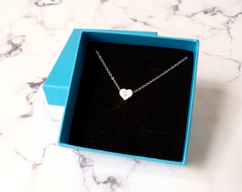 Little silver heart necklace, small initial charm, letter jewelry, best selling gift for her