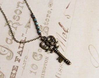 Key Necklace, Small Key Necklace, Antique Key Necklace, Vintage Inspired Key Necklace, Rustic Key, Bronze And Turquoise Necklace