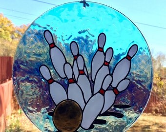 Bowling Art, Faux Stained Glass, Sports Decor, Suncatcher, Stained Glass, Bowling Pin, Window Suncatcher, Bowling Ball, Gift For Bowler