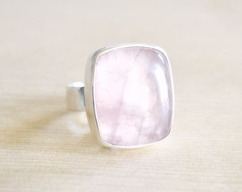 Pink Clouds Rose Quartz Ring