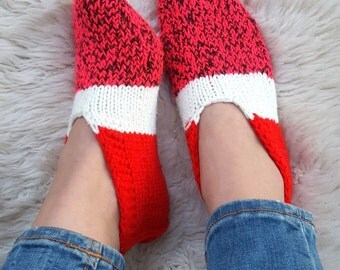 Red slippers, warm and cozy home shoes, hand knitted wool slippers, seamless ankle socks, women slippers handmade gift for her comfy shoes