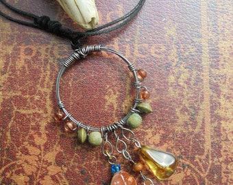 Unakite Dreamcatcher Necklace