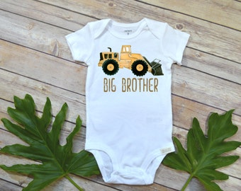 Big brother shirt, Construction Theme, Big Brother Announcement, Bull Dozer, Cute Boy Clothes, Baby Boy Clothes, Trucks Boy Shirt, Brothers