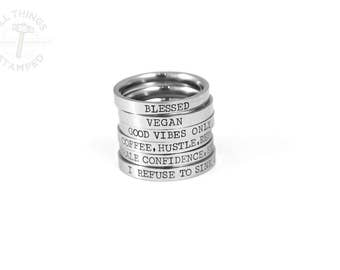 Personalized Stacking Rings - Engraved Band - Custom Rings - Word Rings - Anniversary Gift - Hand Stamped Ring - Engagement Rings - Silver