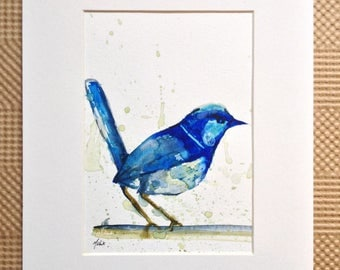 Blue Wren Watercolor Painting - Superb fairywren painting - Blue bird painting - Fairy Wren Watercolor Illustration