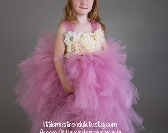 Girls Flower Girl Tutu Dress, Dusty Rose Tutu Dress, Rose Pink Flower Girl Tutu Dress, Rose Tutu Dress, Rose Flower Girl Tutu Dress, Rose