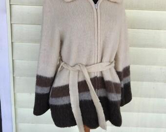 Wool Sweater Jacket /Medium Womens/1970's 80s/Zip Front/Lined/Cream Brown Gray Mocha/Tie Belt/Scandanivian/Ski Lodge/Mountains