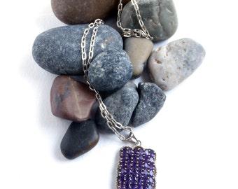 Purple Crystal - Vintage Necklace - Sterling Silver - Long - Purple Necklace