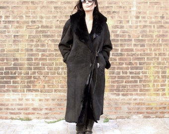1980s Shearling Coat Black Long Raw Avant Garde Cocoon Blanket Jacket L XL