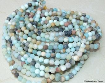Amazonite Round Matte Beads - 8mm Amazonite Bead Strands - Frosty Matte Finish