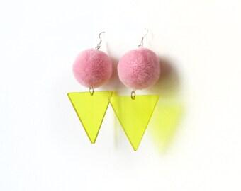 Pink Pom Earrings, Laser Cut Acrylic Pom Pom Earrings, Neon Yellow Triangle Earrings, Party Fluffy Earrings, Disco 80s Fancy Earrings