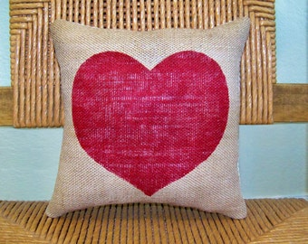 Heart pillow, Valentine gift, Red Heart pillow, Burlap pillow, Love pillow, red pillow, stenciled pillow, FREE SHIPPING!