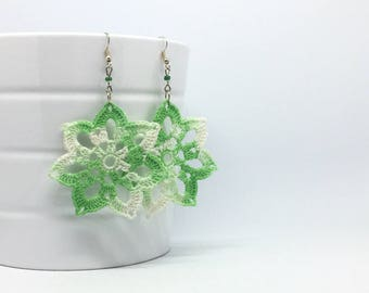 Earrings crochet Flower 7 petals, green fluo nuance  - One piece handmade