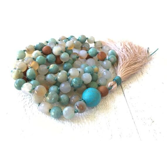 New Discoveries Mala Necklace, Sandalwood And Agate Mala Beads, Hand Knotted Mala, Howlite Guru Bead, Natural Healing Stone Mala