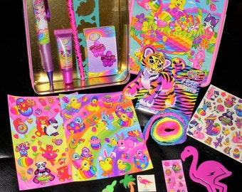 Vintage Lisa Frank Collector Easter Tin Stickers Erasers Stencil Body Stickers Tattoos Pencil Shoe Laces Flamingo