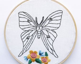 Luna Moth Woodland Baby Nursery Wall Decor Modern Embroidery Art with Embroidered Wildflowers in Wooden Hoop // Ready to Ship Home Decor