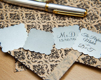 "150 Silver Pearlised 1.5 inch Square Shiny Stickers, Envelope Seals. Custom Stickers. 1.5"" Save the date stickers. Invitation Seals."