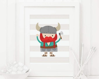 Viking Printable Viking Nursery Decor Viking Wall Art Viking Decor Viking People Norseman Wall Art Boy Nursery Decor Playroom Decor Teal 101
