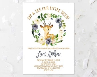 Spring Woodland Sip and See Invitation Printable Welcome Baby Invite New Baby Invitation Spring Floral Sip and See Baby Deer Blue Brown 233