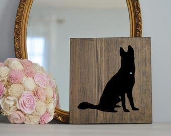 Hand Painted Husky Silhouette on Stained Wood, Dog Decor, Dog Painting, Gift for Dog People, New Puppy Gift