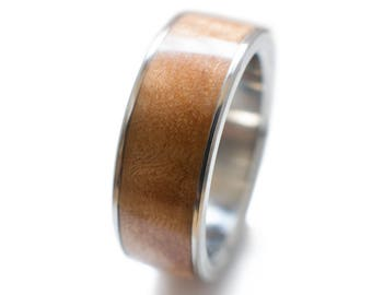 Figured Maple Ring Inlaid Into Titanium - wood mans ring, wood inlay mens wedding bands, mens wedding bands with wood inlay, titanium inlay