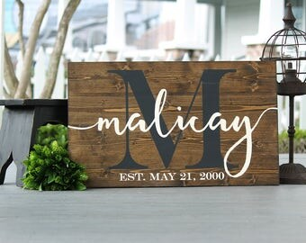 "Realtor closing gift, new home gift, realtor gift, housewarming gift, established name sign, closing gift, wooden sign, 10.5X16"" or 14x23.5"""