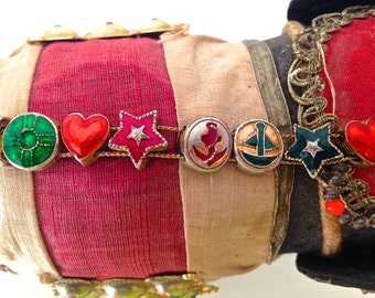 Hollywood glamour charm bracelet Old Hollywood enamel jewelry Valentines Love bracelet Valentines day gift Vintage jewellery Costume jewelry