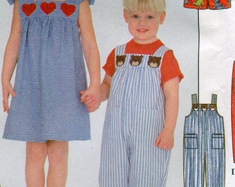 1990s Simplicity 8194 Girls Boys Overalls Jumper Sundress Top Shorts Sewing Pattern Size 3 4 5 6 UNCUT