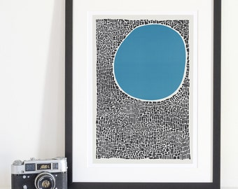 Lake Art, Abstract Print, Blue Water Poster, Mid Century Modern, Architecture Art, Modern Room Decor, Contemporary Print, Apartment Wall
