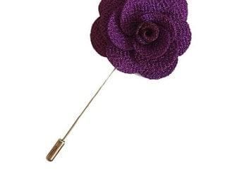 Purple Lapel Pin Wedding Boutonniere Groomsman Purple Flower Pin Groomsmen Boutonniere Groom Best Man Usher Buttonhole Posy Lapel Flower