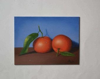 Acrylic 6x8' small still life painting, fruit miniature, orange, clementine miniature, tiny kitchen painting, food artwork, tangerine art