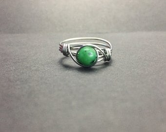 Green Kiwi Jasper Wire Wrapped Ring