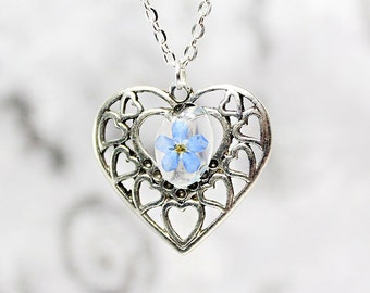 romantic necklace heart jewelry blue necklace/for/women love necklace/for/wife romantic gift idea/for/her heart necklace cute gift Рю6