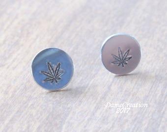 SALE Cannabis Earrings - Cannabis Jewelry - Stamped Stud Earrings - Silver Disc Earrings - Silver Stud Earrings - Weed Gifts