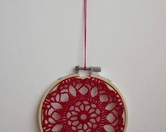 FLOWER BURST - Red Crochet Doily Embroidery Hoop - Red Crochet Suncatcher - Doily Embroidery Hoop - Ruby Crochet Decor - Crochet Suncatcher