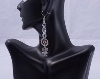 Owl Earrings / Steampunk Owl / Gear Earrings / Nickle Free Earrings / Metal Owl / Silver Owl / Silver Owl Charm / Steam Punk Jewelry