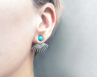 Boho turquoise ear jackets | Sunburst silver earrings | Boho turquoise earcuff | Mint behind back earrings ear cuff | Turquoise jewellery