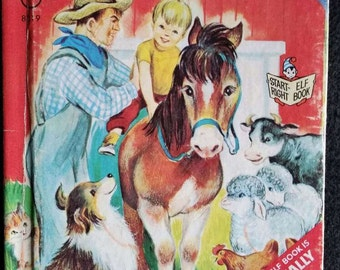 FARM ANIMALS, Vintage, Start Right Elf Book, 1966, Adorable Farm Animal Illustrations, Horses, Roosters, Kittens, Puppies, Bunnies, Cows!