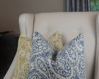 Blue and Beige Paisley Pillow Cover, Blue Paisley Throw Pillow, Blue Decorative Cushion Cover, Housewares Decor, Home Living 0070