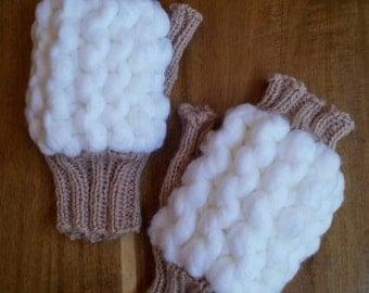 Hand Knitted fingerless gloves,  women's gloves, super chunky gloves, knitted in Australia