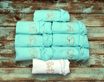 SET OF 11 - Plain Cotton Robes - MANY colors - Set of Eleven - Embroidered Robes - Monogrammed Bridesmaid Robes - Bridal Party Robes