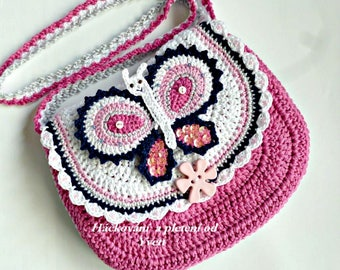 PATTERN - Handbag with butterfly - crochet pattern, purse, bag, PDF