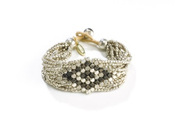 Statement Bracelet - Stacking Bracelet - Silver Black Beaded Bracelet - Gypsy Bracelet - Woman Silver Bead Bracelet - Beaded Summer Bracelet