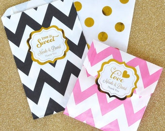 BRIDAL Personalized  Metallic Foil Goodie Bags (set of 12) - Wedding Favor Bags w/Labels - Bridal Shower Favor Bags - Candy Buffet Bags