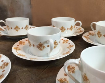 Demitasse, Limoges, Georges Boyer, 6 cups, 6 saucers, exclusive for Marcel Rochas,  - MINT